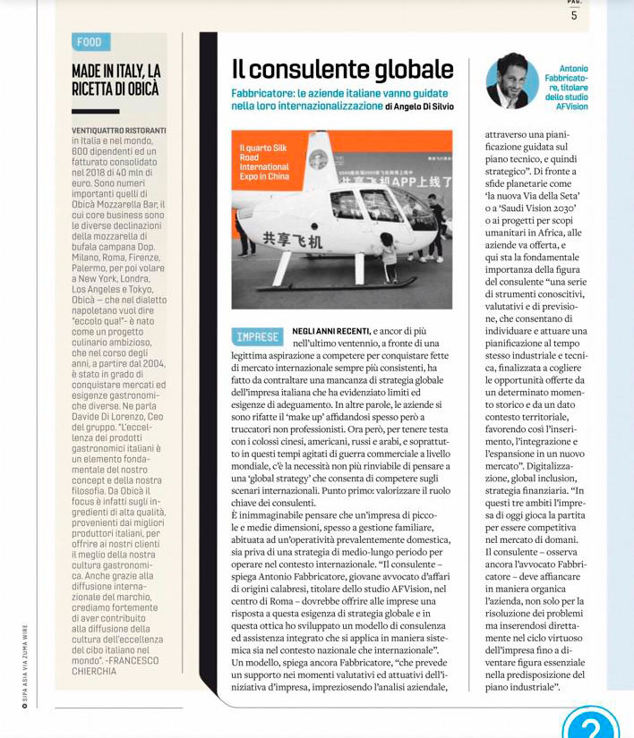 AFVision - Fortune - Antonio Fabbricatore the global consultant for the Italian companies - Article