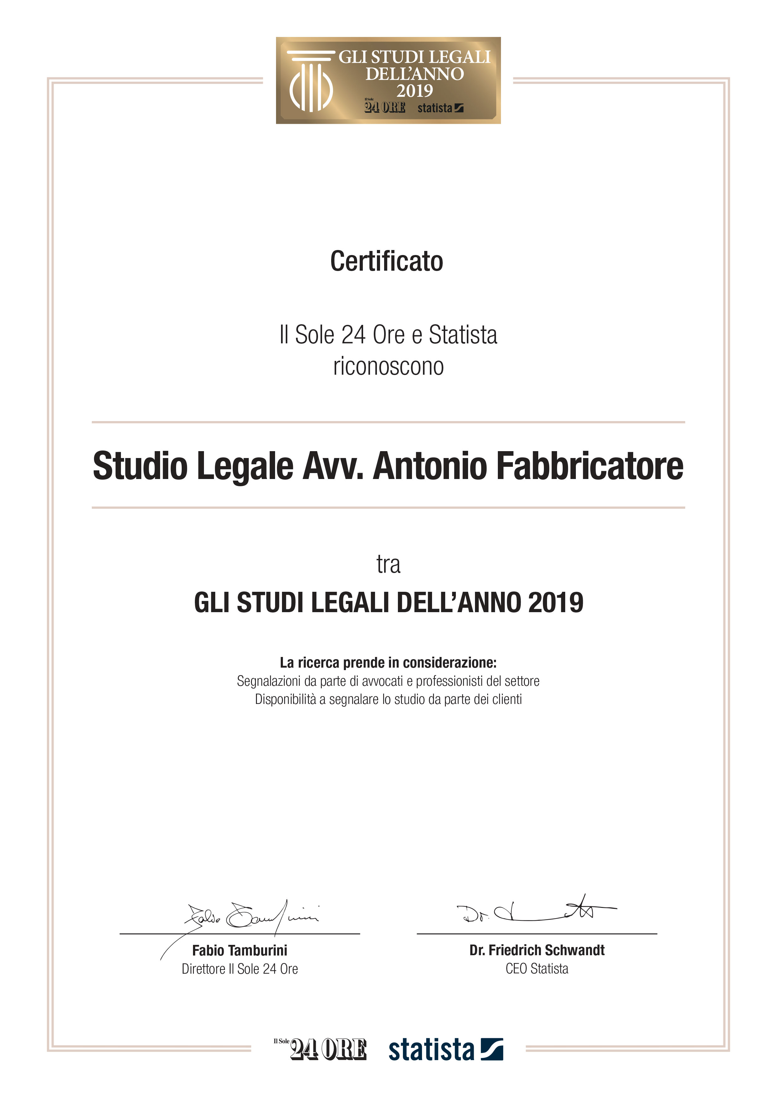 AFVision - Certificate of best law firm